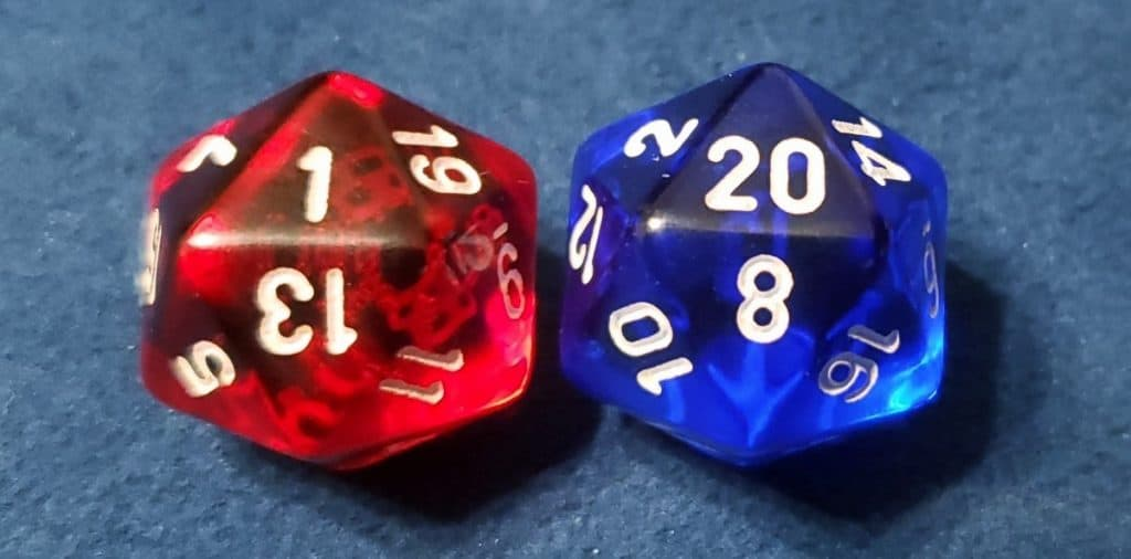 1 and 20 dice