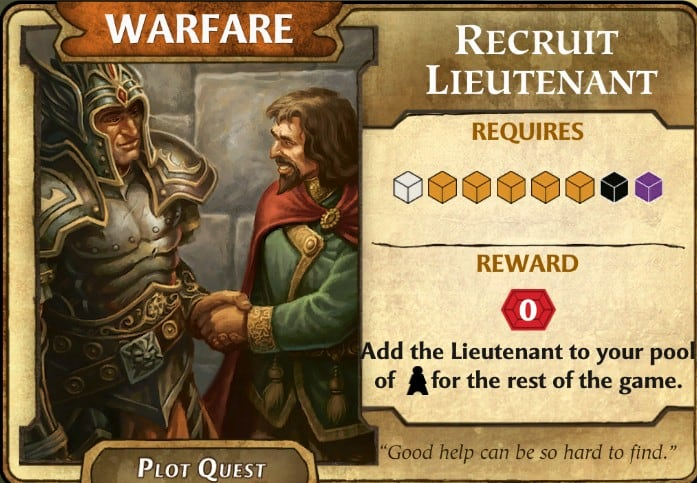Recruit Lieutenant LOW plot quest