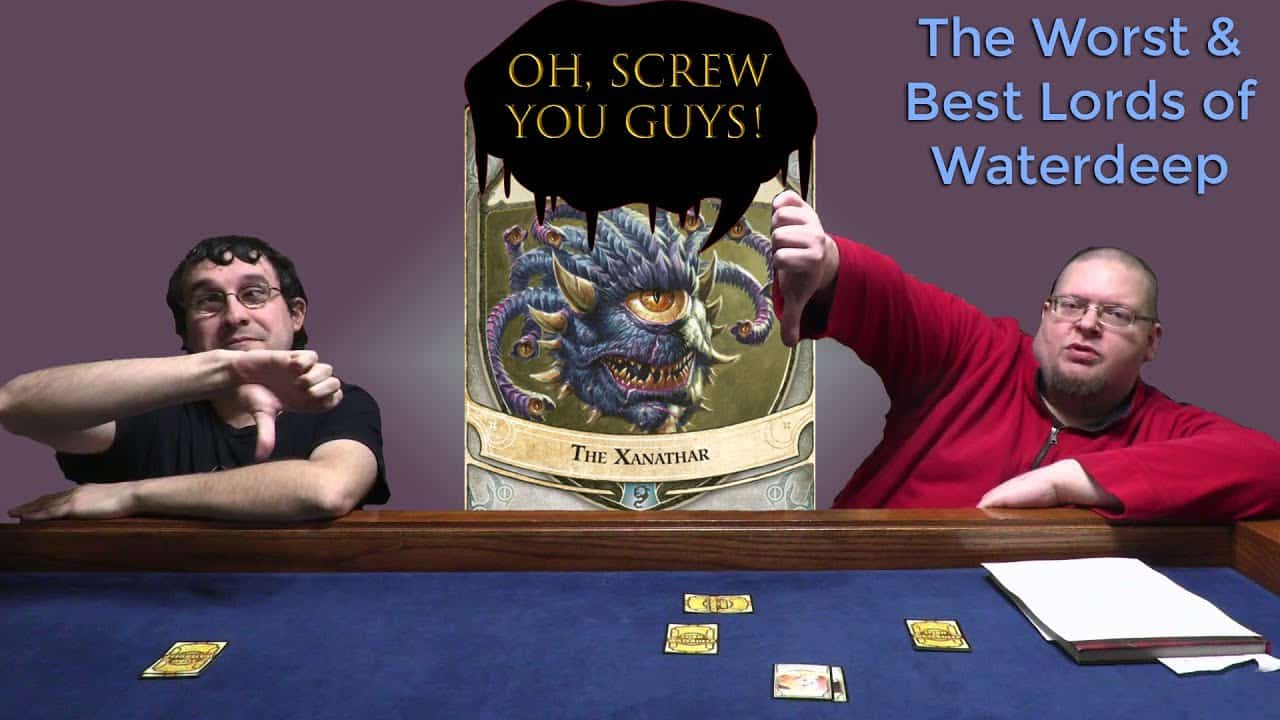 Boargamers talking about lords of waterdeep at gaming table