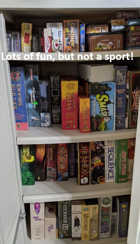 cabinet full of boardgames