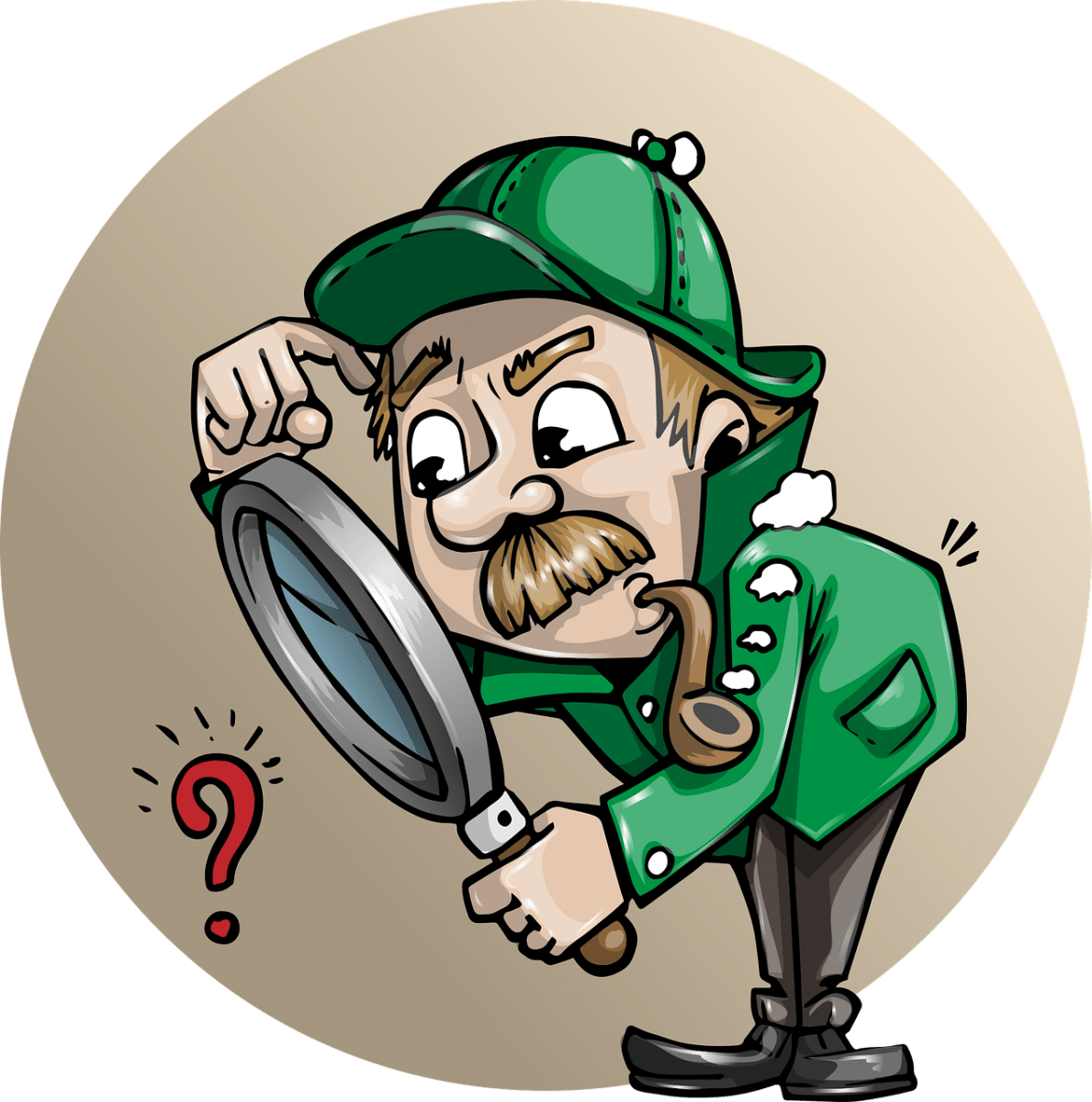 cartoon detective investigating