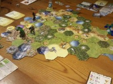 Mage Knight boardgame on wood table