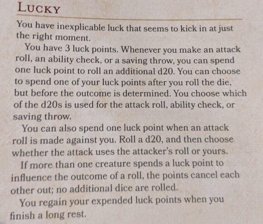 lucky banned feat 5E