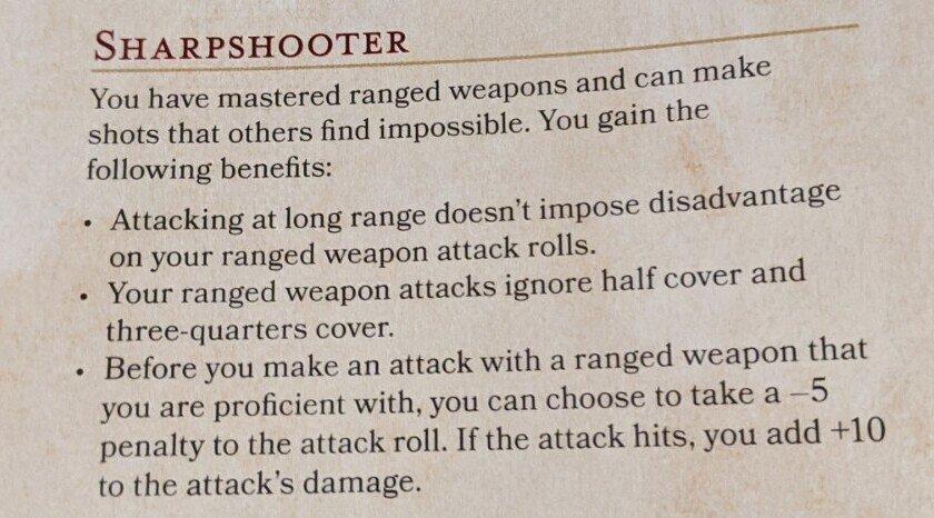sharpshooter feat 5E D&D
