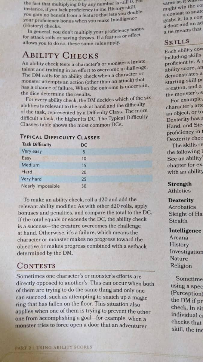 Ability Check table 5E DnD