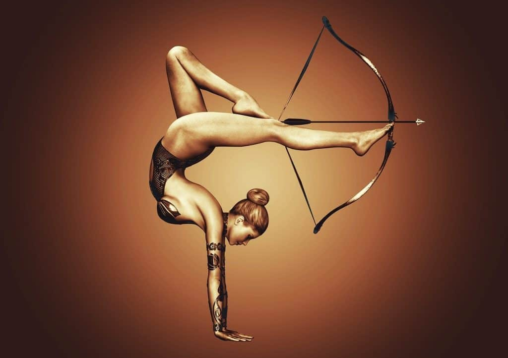 woman archer using legs to shoot