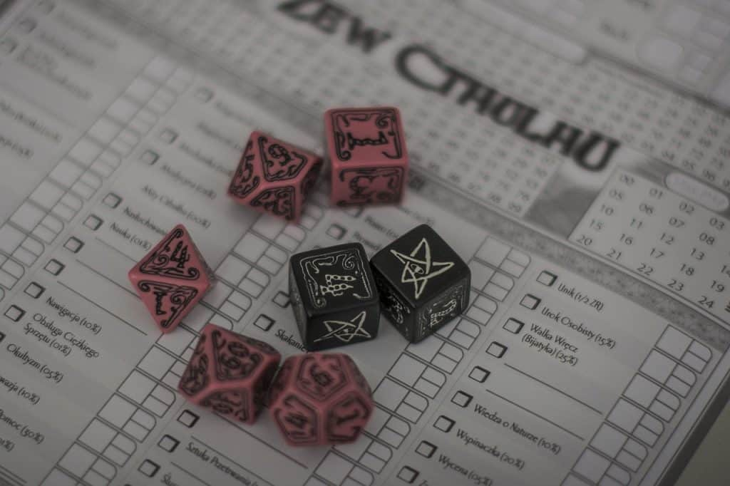Call of Cthulhu dice and sheets