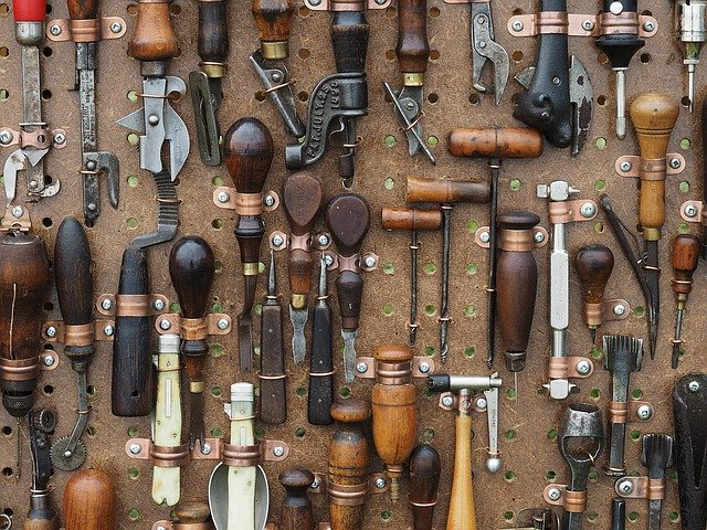 varied tools on the wall