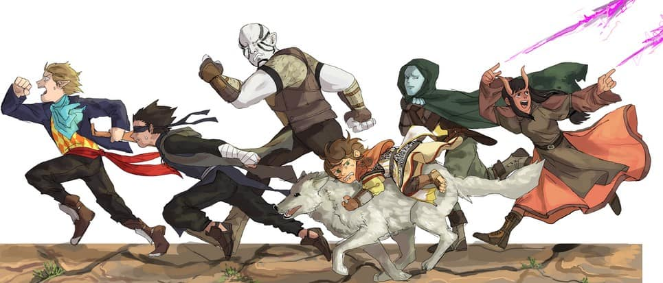 DnD party running from monster