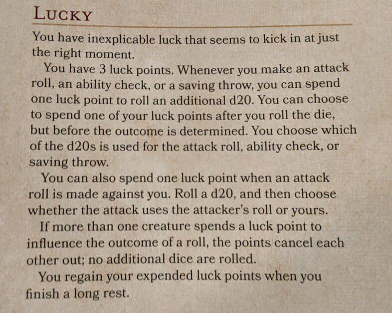 lucky feat entry 5e book