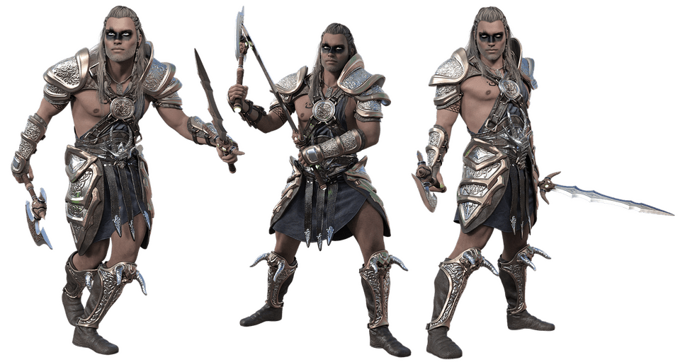 three armed barbarian fighters