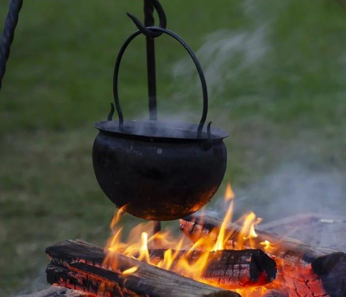 homebrew cauldron on fire